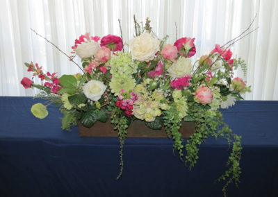 Stunning faux flower arrangement rental for Nevada County venue