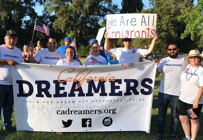 California Dreamers group hold a banner