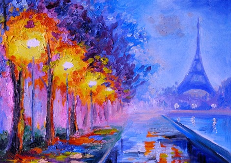 Painting of Paris by night and the Eiffel Tower