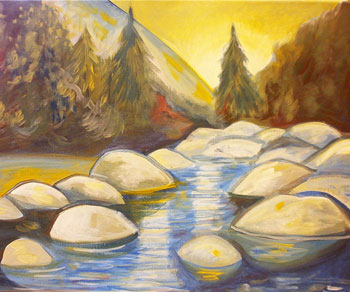 come paint with us the Yuba river acrylic class Grass Valley Ca